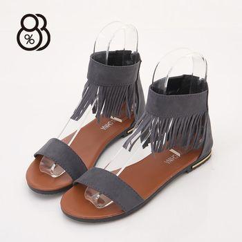 88% 歐美時尚款繞踝流蘇一字涼鞋後拉鍊1.5CM低粗跟涼鞋
