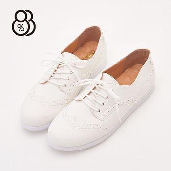 88% MIT台灣製綁帶雕花蕾絲皮革乳膠墊休閒牛津鞋小白鞋