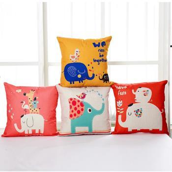 BELLE VIE 大象派對 卡通風棉麻抱枕(45cm×45cm) 多款任選