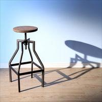 BuyJM 復古LOFT工業風旋轉式楡木昇降吧檯椅/洽談椅