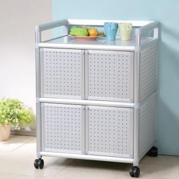 Homelike 鋁合金2尺四門收納櫃-黑花格