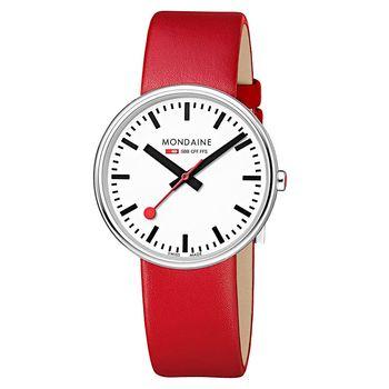 MONDAINE 瑞士國鐵MINI GIANT小巨人腕錶/35mm-紅錶帶 (76311R)