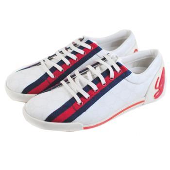 【GUCCI】 藍紅藍防水帆布鞋(白色/38.5號)