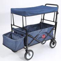 LOGIS-美式靛藍萬用家庭摺疊推車 嬰兒床 購物車 寵物車 LS168-BL