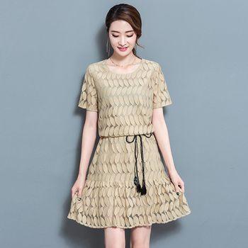 最水-清新愜意修身蕾絲洋裝