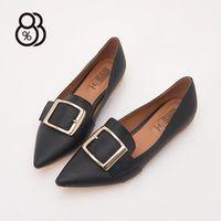 【88%】MIT台灣製金屬皮釦裝飾皮革1CM低粗跟尖頭包鞋娃娃鞋