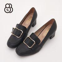 【88%】MIT台灣製金屬方扣皮革5CM中粗跟小方頭包鞋紳士鞋