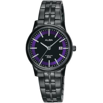 ALBA 炫紫光圈 藍寶石水晶時尚女錶(黑/28mm) VJ22-X259SD AH7N69X1