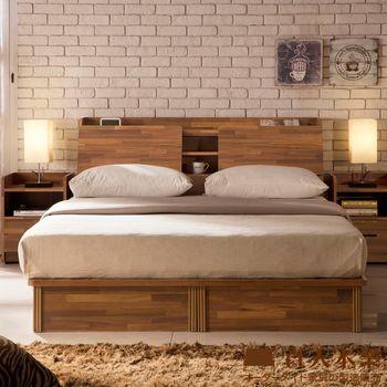 【日本直人木業】INDUSTRY積層木6尺雙人加大抽屜床組(床底有2個收納抽屜)
