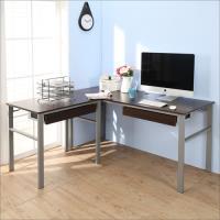 BuyJM 低甲醛防潑水L型160+80公分雙抽屜穩重型工作桌/電腦桌/書桌