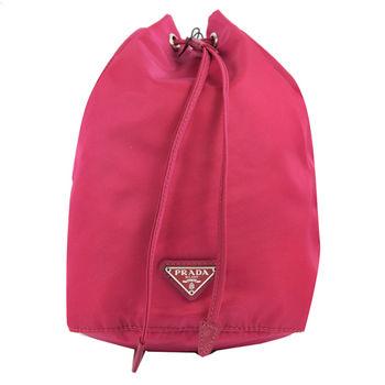 【PRADA】1N0369 經典三角LOGO尼龍帆布束口萬用包/化妝包(深桃紅)