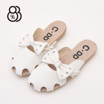 88% 可愛半包鞋水鑽蝴蝶結洞洞圓頭拖鞋懶人鞋