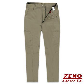 ZENO傑諾 吸濕排汗防曬四面彈力長褲‧暗褐M-3XL