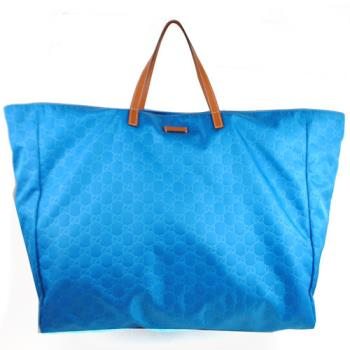 GUCCI 286198 經典雙G緹花布皮飾邊大購物包.藍