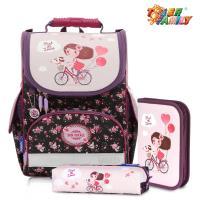 ~TigerFamily~歐洲插畫家小貴族超輕量護脊書包~單車少女 含文具袋 鉛筆盒