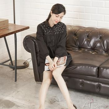 A1 Darin  韓版半開襟珍珠襯衫洋裝(三色選一)