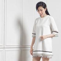 A1 Darin  韓版壓摺袖拼接長版洋裝(兩色選一)