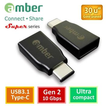 【amber】USB3.1 Type-C 公 對 USB3.1 A母轉接頭,Gen 2/OTG轉接線 支援蘋果MacBook 12/Pro Type C系列手機