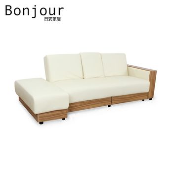 【日安家居】Dick狄克法式多功能皮沙發/沙發床(3人座+腳凳)