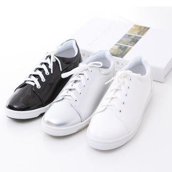 ZUCCA【Z6128】純色亮面皮革休閒鞋-白色/黑色/銀色