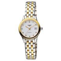 LONGINES 旗艦系列真鑽機械錶女錶 白x雙色版 L42743277