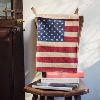 收納職人 美式復古LOFT工業風美國國旗附蓋黃麻收納整理籃/儲物盒 美國風