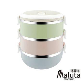 瑪露塔 304不鏽鋼日式花漾手提餐盒2.3L