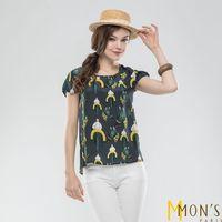 MONS精品印花蕾絲100%手工蠶絲上衣(CA7016)