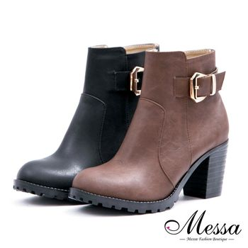 Messa米莎專櫃女鞋- MIT 顯瘦俐落美型側拉鍊粗跟短靴-二色