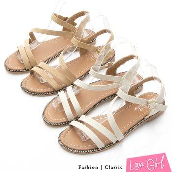 Love Girl 親膚好感線條層次繫踝平底涼鞋