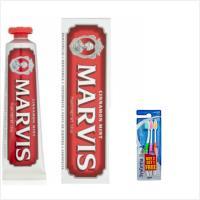 義大利Marvis肉桂薄荷牙膏(紅色) 75ml*3+進口Systema獅王細潔牙刷-軟毛(3入/袋)*3