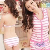 天使霓裳  泳衣 活力滿滿 三件式條紋鋼圈比基尼泳裝(粉XL) SQ13059