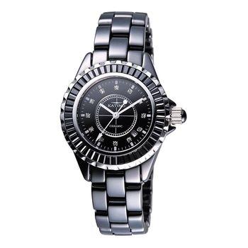 KATINO黑色銀框陶瓷男錶-型(網)