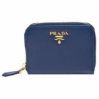 PRADA SAFFIANO METAL系列金色浮雕LOGO防刮牛皮拉鍊卡夾/零錢包(藏藍)
