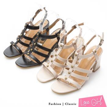 Love Girl 氣質好感鉚釘羅馬高跟涼鞋