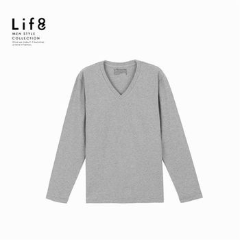 Life8-男 有機棉居家上衣 V領長袖款 三件組-麻花灰/黑/丈青-93015