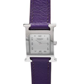 HERMES H PM系列小牛皮銀框石英女仕腕錶(紫/21mm)