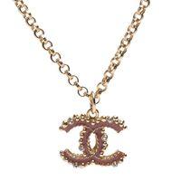CHANEL 經典雙C LOGO圓珠飾邊水鑽鑲嵌項鍊(粉X金)