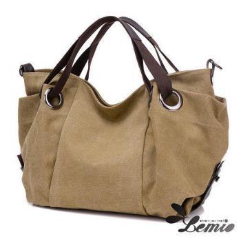 【Lemio】韓版單肩斜跨旅行大收納帆布包
