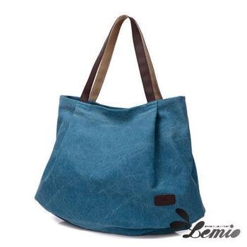 【Lemio】韓版森林系簡約帆布側背包
