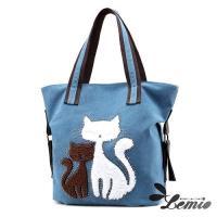 【Lemio】百搭帆布 雙色貓咪 托特隨身包