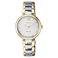 CITIZEN 星辰 L系列 光動能手鍊女錶 銀x雙色版 28mm EM0534-80A