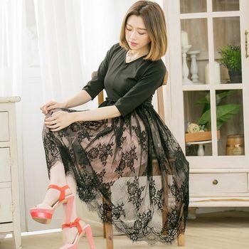 【lingling】素面V領拼接花樣蕾絲五分袖長版洋裝(亮麗黑)A3384-01