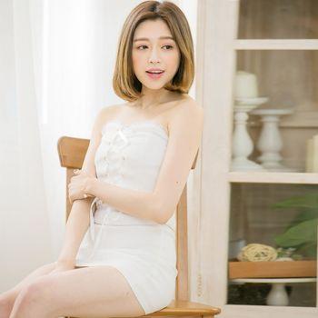 【lingling】露肩馬甲有罩杯式平口小洋裝(魅力白)A3377-02