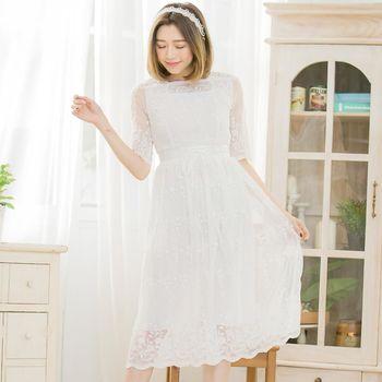 【lingling】網紗蕾絲透膚五分袖長洋裝(輕盈白)A3383-01