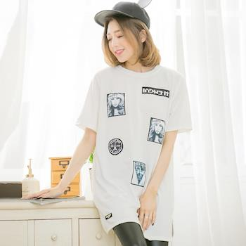 lingling中大尺碼 小人物照片貼布長版T恤上衣(個性白)A3448-01