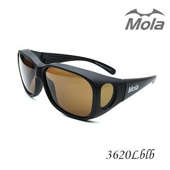 MOLA 摩拉大臉包覆式偏光太陽眼鏡/套鏡 近視可戴-3620Lblb