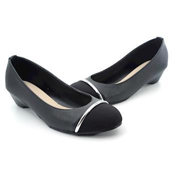 【 cher美鞋】MIT金屬細帶拼接低跟美鞋-黑色0610870830101-89