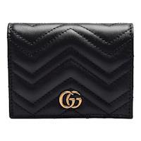 GUCCI GG Marmont matelasse系列絎縫紋牛皮金屬雙G LOGO暗釦卡夾/零錢包(黑)