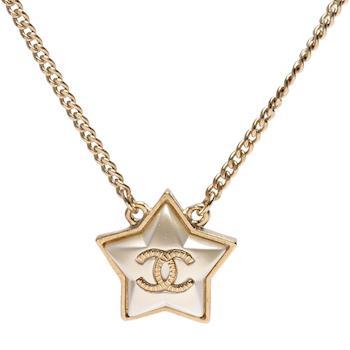 CHANEL 經典雙C LOGO五角星飾邊項鍊(金)